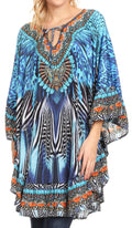 Sakkas Delu Women's Loose V Neck Blouses Top Tunic with Ruffles And Rhinestone#color_ZB55-Blue