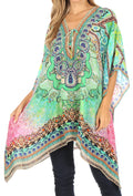 Sakkas Aymee Women's Caftan Poncho Cover up V neck Top Lace up With Rhinestone#color_WM202-Multi