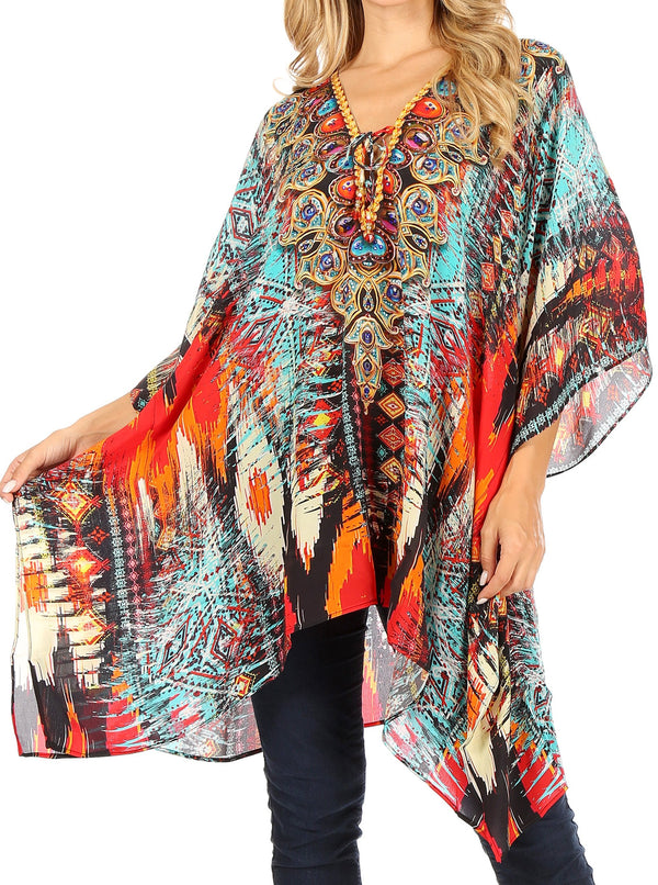 Sakkas Aymee Women's Caftan Poncho Cover up V neck Top Lace up With Rhinestone#color_AM107-Multi