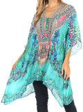 Sakkas Aymee Women's Caftan Poncho Cover up V neck Top Lace up With Rhinestone#color_ETU227-Turq