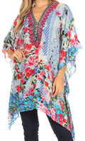 Sakkas Aymee Women's Caftan Poncho Cover up V neck Top Lace up With Rhinestone#color_FLB41-Blue