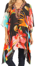 Sakkas Aymee Women's Caftan Poncho Cover up V neck Top Lace up With Rhinestone#color_FLBK32-Black