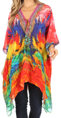 Sakkas Aymee Women's Caftan Poncho Cover up V neck Top Lace up With Rhinestone#color_FM92-Multi