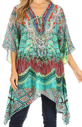 Sakkas Aymee Women's Caftan Poncho Cover up V neck Top Lace up With Rhinestone#color_FOM223-Multi