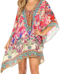 Sakkas Aymee Women's Caftan Poncho Cover up V neck Top Lace up With Rhinestone#color_IM101-Multi