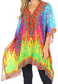Sakkas Aymee Women's Caftan Poncho Cover up V neck Top Lace up With Rhinestone#color_JM91-Multi