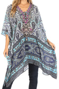 Sakkas Aymee Women's Caftan Poncho Cover up V neck Top Lace up With Rhinestone#color_MW28-White
