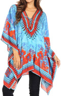 Sakkas Aymee Women's Caftan Poncho Cover up V neck Top Lace up With Rhinestone#color_ORT72-Turq