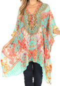 Sakkas Aymee Women's Caftan Poncho Cover up V neck Top Lace up With Rhinestone#color_ORTU230-Turq