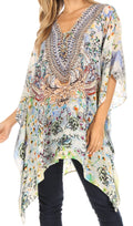 Sakkas Aymee Women's Caftan Poncho Cover up V neck Top Lace up With Rhinestone#color_ORW234-White