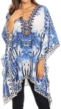 Sakkas Aymee Women's Caftan Poncho Cover up V neck Top Lace up With Rhinestone#color_SB51-Blue