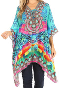 Sakkas Aymee Women's Caftan Poncho Cover up V neck Top Lace up With Rhinestone#color_SB57-Blue