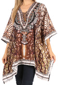 Sakkas Aymee Women's Caftan Poncho Cover up V neck Top Lace up With Rhinestone#color_SBR123-Brown