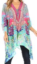 Sakkas Aymee Women's Caftan Poncho Cover up V neck Top Lace up With Rhinestone#color_SM224-Multi
