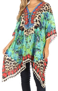 Sakkas Aymee Women's Caftan Poncho Cover up V neck Top Lace up With Rhinestone#color_ST49-Turq