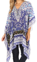 Sakkas Aymee Women's Caftan Poncho Cover up V neck Top Lace up With Rhinestone#color_TB50-Turq