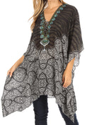 Sakkas Aymee Women's Caftan Poncho Cover up V neck Top Lace up With Rhinestone#color_TBK34-Multi