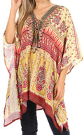 Sakkas Aymee Women's Caftan Poncho Cover up V neck Top Lace up With Rhinestone#color_TM97-Multi