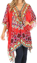 Sakkas Aymee Women's Caftan Poncho Cover up V neck Top Lace up With Rhinestone#color_TRR1-Red