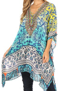 Sakkas Aymee Women's Caftan Poncho Cover up V neck Top Lace up With Rhinestone#color_TT42-Turq