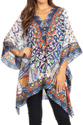 Sakkas Aymee Women's Caftan Poncho Cover up V neck Top Lace up With Rhinestone#color_TW18-White