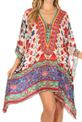 Sakkas Aymee Women's Caftan Poncho Cover up V neck Top Lace up With Rhinestone#color_TW25-White