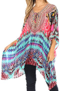 Sakkas Aymee Women's Caftan Poncho Cover up V neck Top Lace up With Rhinestone#color_UM232-Multi
