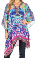 Sakkas Aymee Women's Caftan Poncho Cover up V neck Top Lace up With Rhinestone#color_WB43-Blue