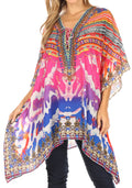 Sakkas Aymee Women's Caftan Poncho Cover up V neck Top Lace up With Rhinestone#color_WM111-Multi