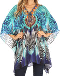 Sakkas Aymee Women's Caftan Poncho Cover up V neck Top Lace up With Rhinestone#color_ZB55-Blue