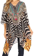Sakkas Aymee Women's Caftan Poncho Cover up V neck Top Lace up With Rhinestone#color_ZBK229-Black