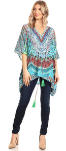 Sakkas Danis Women's Oversized Casual Pullover V-neck Short Sleeve Boho Top Blouse