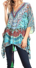 Sakkas Danis Women's Oversized Casual Pullover V-neck Short Sleeve Boho Top Blouse#color_FOM223-Multi