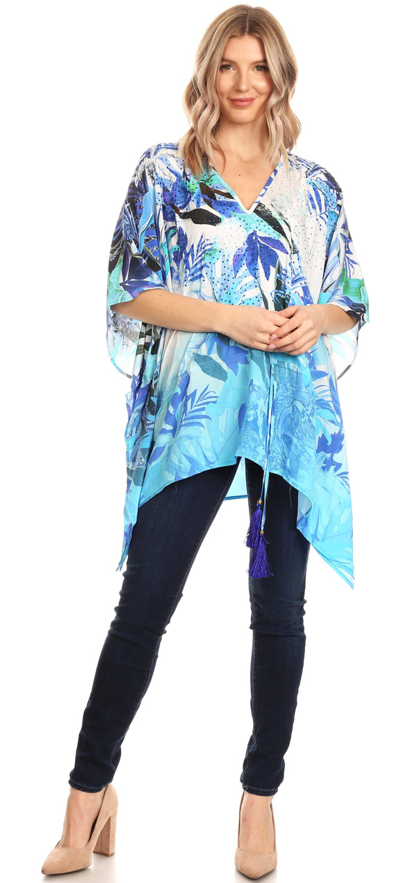 Sakkas Danis Women's Oversized Casual Pullover V-neck Short Sleeve Boho Top Blouse#color_LB218-Blue