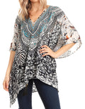 Sakkas Danis Women's Oversized Casual Pullover V-neck Short Sleeve Boho Top Blouse#color_TRBK243-Black