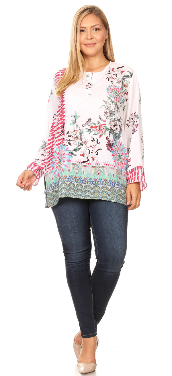 Sakkas Linea Women's Casual Floral Print Long Sleeve Swing Boho Pullover Tunic Top#color_FOM220-Multi