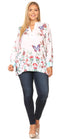 Sakkas Fara Women's Casual Floral Print Lightweight Long Sleeve Blouse Tunic Top #color_FLW244-White