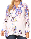 Sakkas Issa Women's Long Sleeve Floral Print Casual Button Down Shirt Blouse Top #color_1906-FW212-White