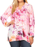 Sakkas Issa Women's Long Sleeve Floral Print Casual Button Down Shirt Blouse Top #color_1906-LM215-Multi