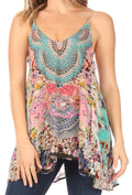 Sakkas Bette Women's Casual Boho Loose Printed Spaghetti Strap Top Tank Camisole#color_465
