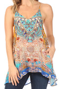 Sakkas Bette Women's Casual Boho Loose Printed Spaghetti Strap Top Tank Camisole#color_466