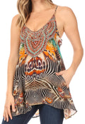 Sakkas Bette Women's Casual Boho Loose Printed Spaghetti Strap Top Tank Camisole#color_467