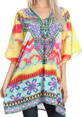 Sakkas Journie Short Printed Wide Sleeve Plunging V-Neck Lace-Up Kaftan Tunic Top