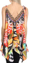 Sakkas Nasreen Sleeveless Printed V-Neck Tank Trapeze Caftan Adjustable Straps #color_17025-Red / Black
