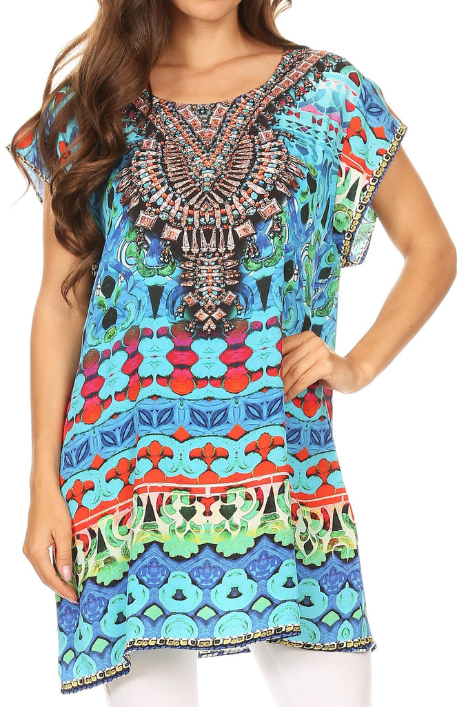 Sakkas Lesedi Top Blouse With Cap Sleeves Colorful Print and Rhinestones