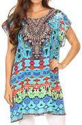 Sakkas Lesedi Top Blouse With Cap Sleeves Colorful Print and Rhinestones#color_17230-Turq-multi