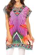 Sakkas Lesedi Top Blouse With Cap Sleeves Colorful Print and Rhinestones#color_17231-Purple/parrot