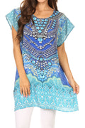 Sakkas Lesedi Top Blouse With Cap Sleeves Colorful Print and Rhinestones#color_17232-blue/ornate