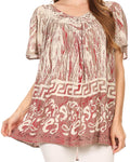 Sakkas Audry Flutter Sleeve V-Neck Batik Top with Sequins and Embroidery#color_Brown