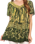 Sakkas Audry Flutter Sleeve V-Neck Batik Top with Sequins and Embroidery#color_Green